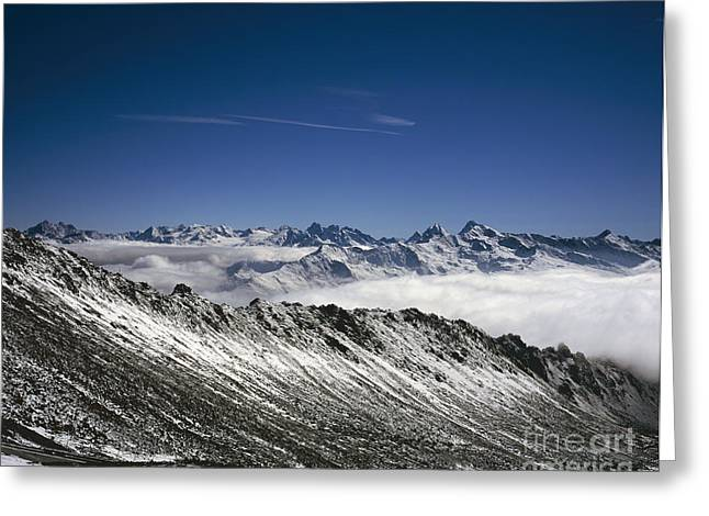 Graubunden Greeting Cards - Autumn snow and cloud The Dorftalli cloud above  Landwasser Valley Davos Switzerland Greeting Card by Michael Walters