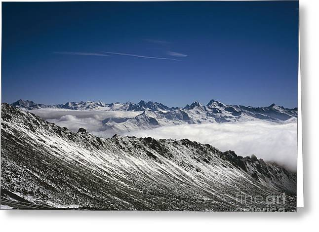 Autumn Snow And Cloud The Dorftalli Cloud Above  Landwasser Valley Davos Switzerland Greeting Card by Michael Walters