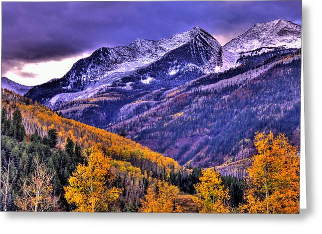 Autumn Snow and Purple Skies Greeting Card by Scott Mahon