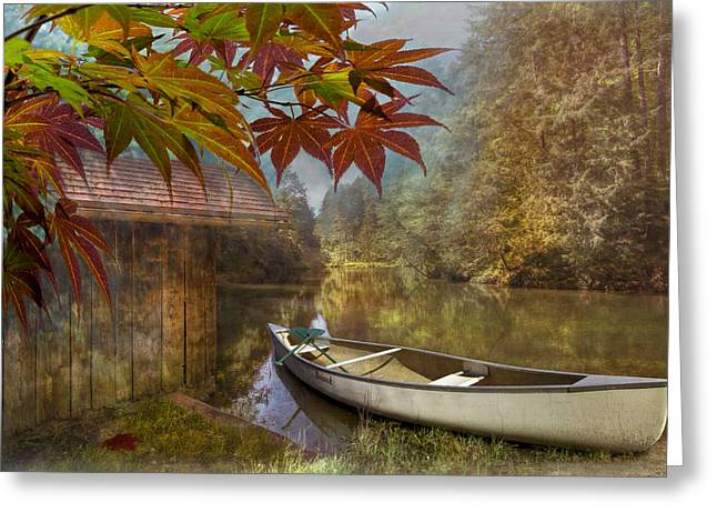 Canoeing Photographs Greeting Cards - Autumn Souvenirs Greeting Card by Debra and Dave Vanderlaan