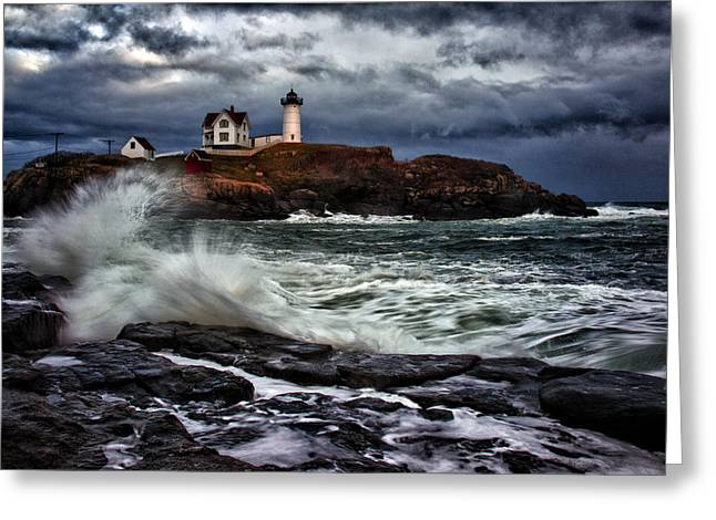 Cape Neddick Lighthouse Greeting Cards - Autumn Storm at Cape Neddick Greeting Card by Rick Berk