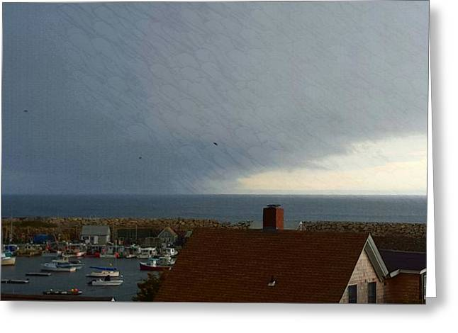 Boats In Harbor Greeting Cards - Autumn Storm Clouds Greeting Card by Harriet Harding