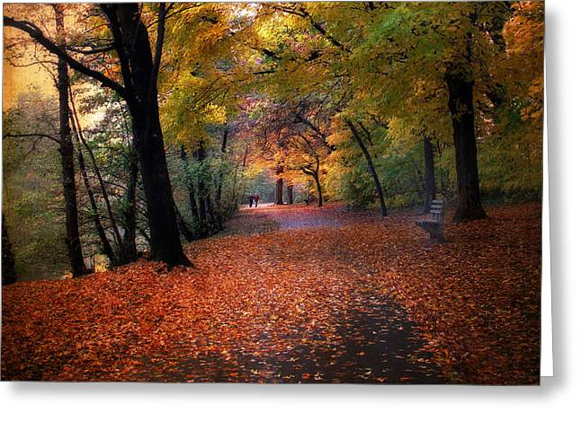 Walk Paths Digital Art Greeting Cards - Autumn Stroll Greeting Card by Jessica Jenney