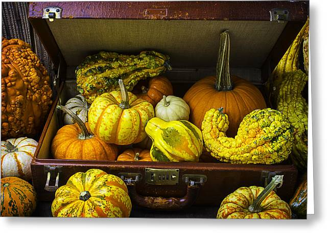 Ornamentation Greeting Cards - Autumn Suitcase Greeting Card by Garry Gay