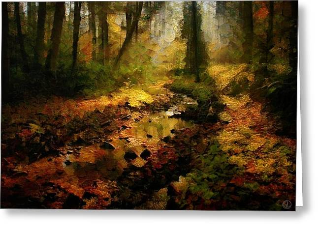 Puddle Digital Art Greeting Cards - Autumn sunrays Greeting Card by Gun Legler