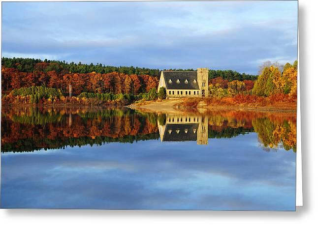 Autumn Sunrise At Wachusett Reservoir Greeting Card by Luke Moore