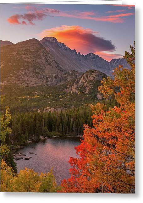 Autumn Sunrise Over Longs Peak Greeting Card by Darren White