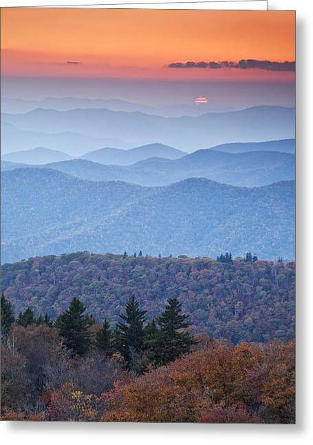 Western North Carolina Greeting Cards - Autumn Sunset on the Parkway Greeting Card by Rob Travis