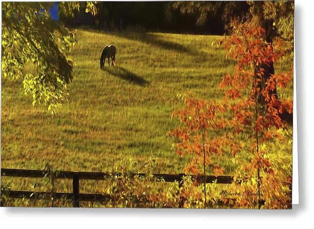 Autumn Sunset Shadows Greeting Card by Bellesouth Studio