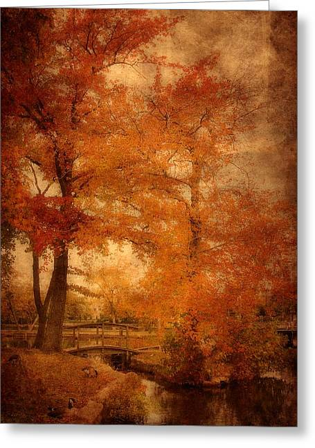 Stream Digital Art Greeting Cards - Autumn Tapestry - Lake Carasaljo Greeting Card by Angie Tirado