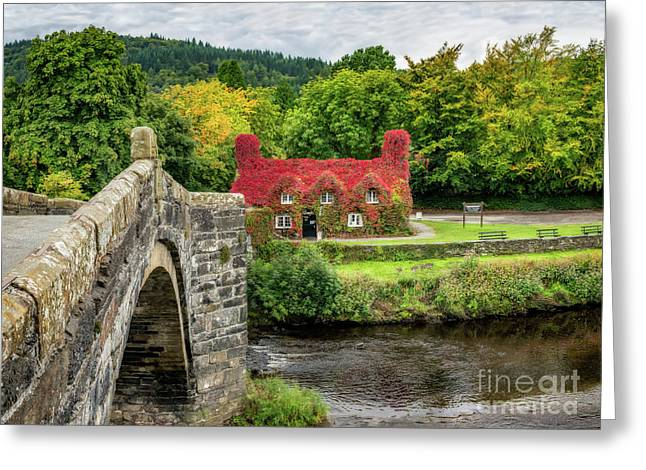 Autumn Tea House Greeting Card by Adrian Evans