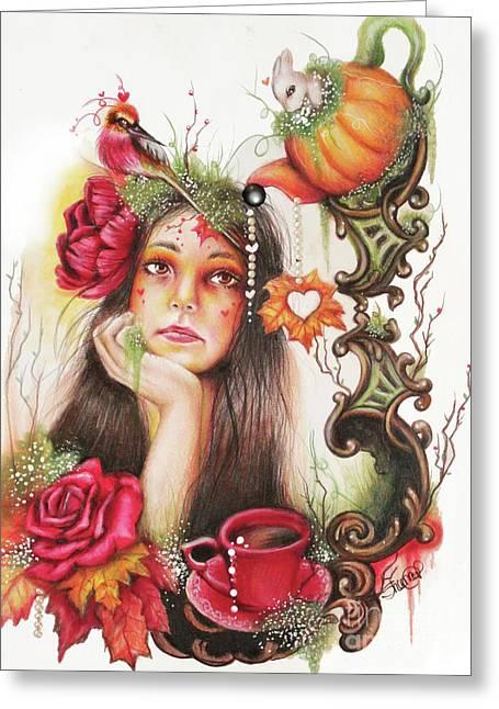 Autumn Tea  Greeting Card by Sheena Pike