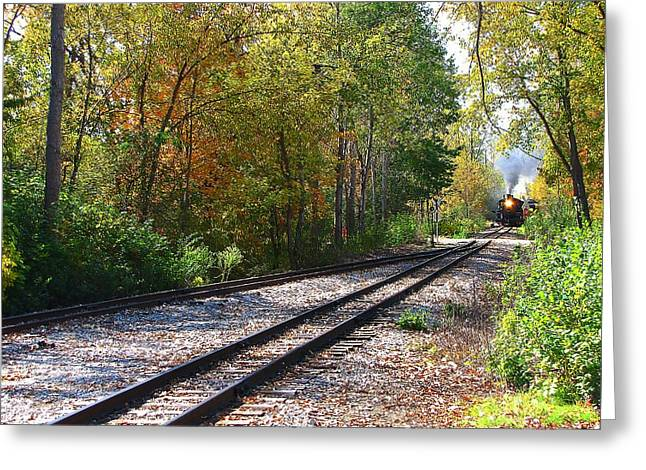 Hovind Greeting Cards - Autumn Train Greeting Card by Scott Hovind
