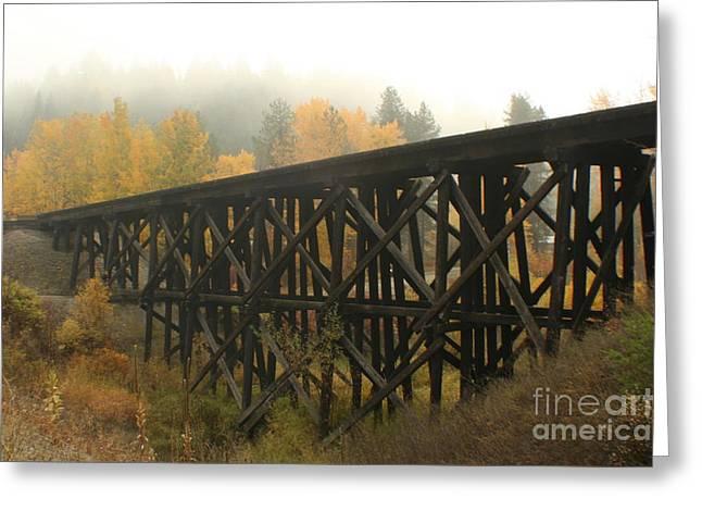Trestle Greeting Cards - Autumn Trestle Greeting Card by Idaho Scenic Images Linda Lantzy