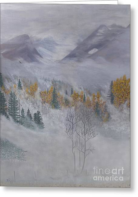 Mystical Landscape Greeting Cards - Autumn Valley Mist Greeting Card by Stanza Widen