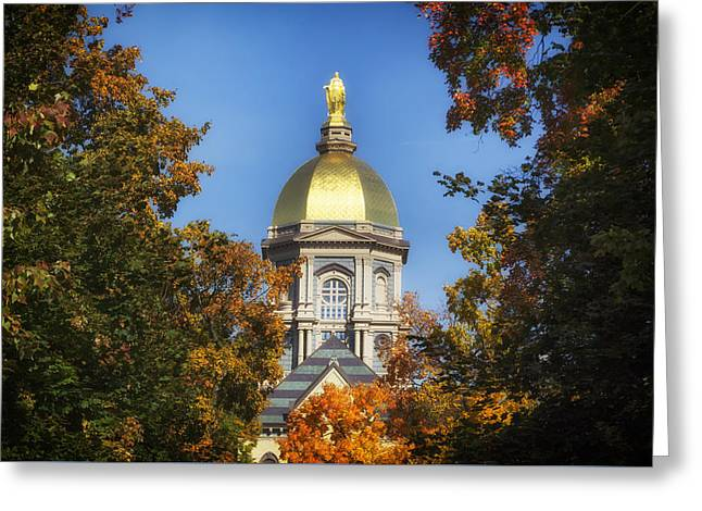 Indiana Autumn Greeting Cards - Autumn View Of Notre Dames Golden Dome Greeting Card by Mountain Dreams