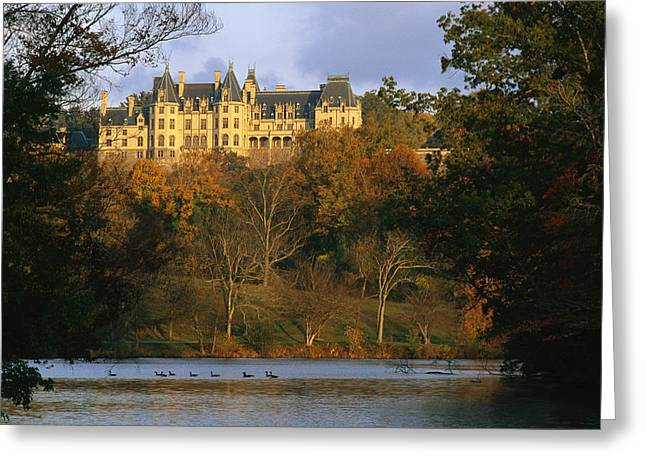 Twilight Views Greeting Cards - Autumn View Of The Biltmore Greeting Card by Melissa Farlow
