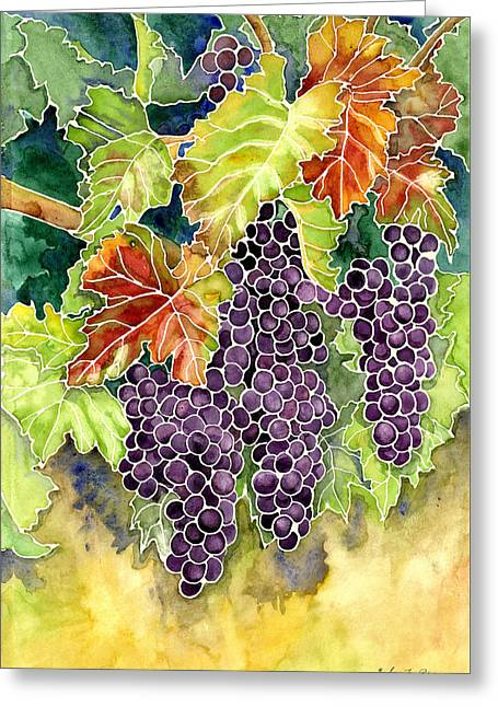 Autumn Vineyard In Its Glory - Batik Style Greeting Card by Audrey Jeanne Roberts
