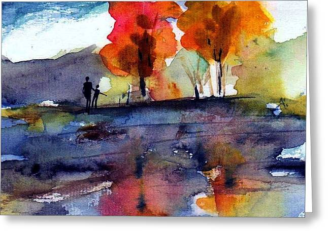 Lake Greeting Cards - Autumn Walk Greeting Card by Anne Duke