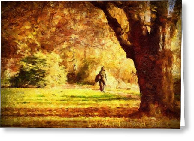 Autumn Walk In Sunshine Greeting Card by Georgiana Romanovna