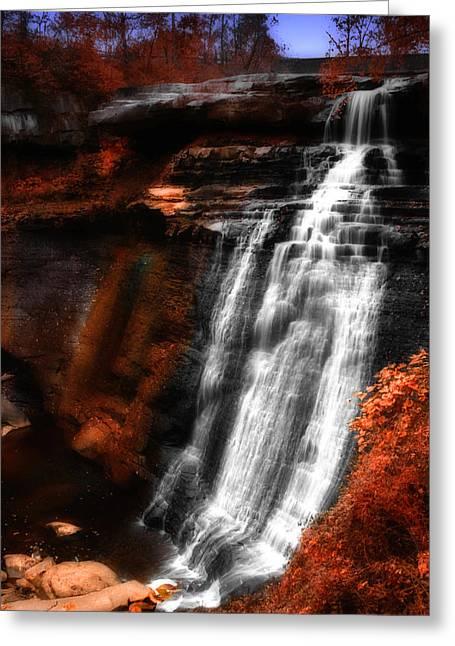 Akron Falls Greeting Cards - Autumn Waterfall 3 Greeting Card by Kenneth Krolikowski