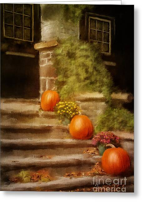 Store Fronts Greeting Cards - Autumn Welcome Greeting Card by Lois Bryan