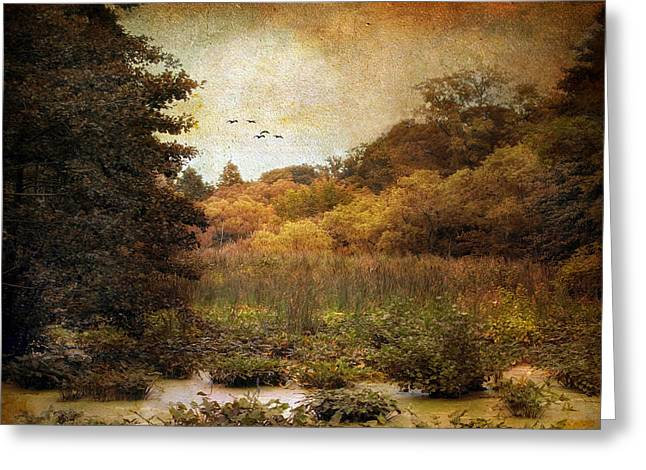 Autumn Landscape Digital Greeting Cards - Autumn Wetlands Greeting Card by Jessica Jenney