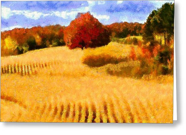 Landscape Framed Prints Greeting Cards - Autumn Wheat Field Greeting Card by Caito Junqueira