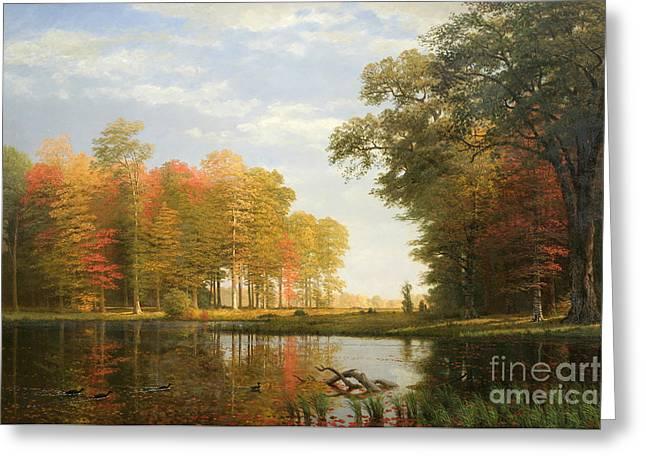 Autumn Woods Greeting Card by Albert Bierstadt