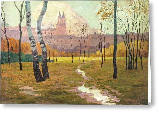 Autumnal Park In Front Of The Augustinian Canons Greeting Card by Eduard Kasparides