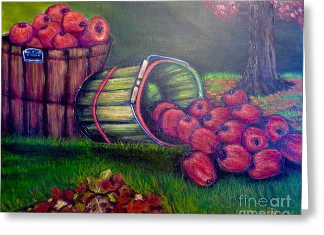 Still Life With Green Apples Greeting Cards - Autumns Bounty of the Volunteer State Contemporary Greeting Card by Kimberlee  Baxter