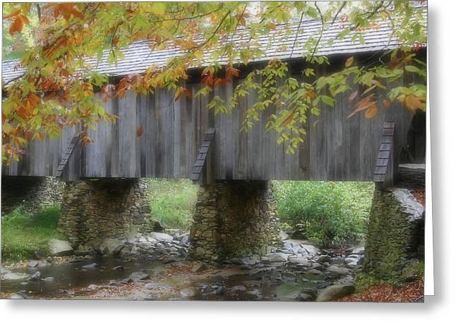 Covered Bridge Greeting Cards - Autumns Bridge Greeting Card by Karol  Livote