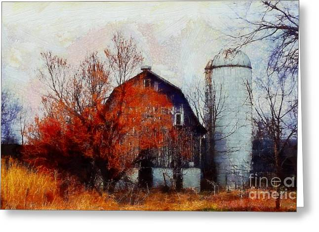 Bare Trees Greeting Cards - Autumns last blaze Greeting Card by Janine Riley