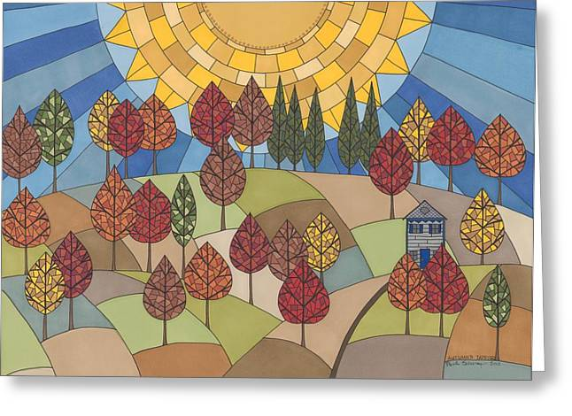 Autumn Landscape Drawings Greeting Cards - Autumns Tapestry Greeting Card by Pamela Schiermeyer