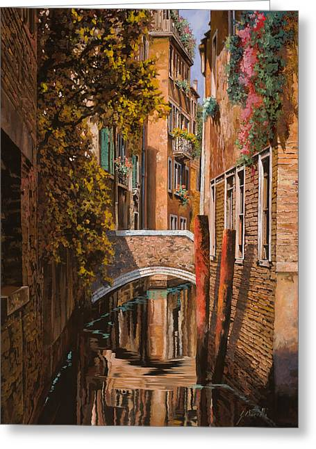 Orange Greeting Cards - autunno a Venezia Greeting Card by Guido Borelli
