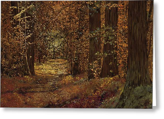 Piedmont Greeting Cards - Autunno Nei Boschi Greeting Card by Guido Borelli
