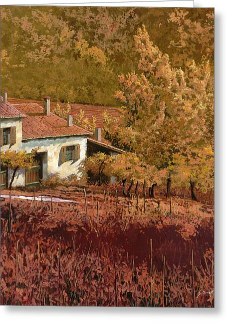 Farm Landscape Greeting Cards - Autunno Rosso Greeting Card by Guido Borelli