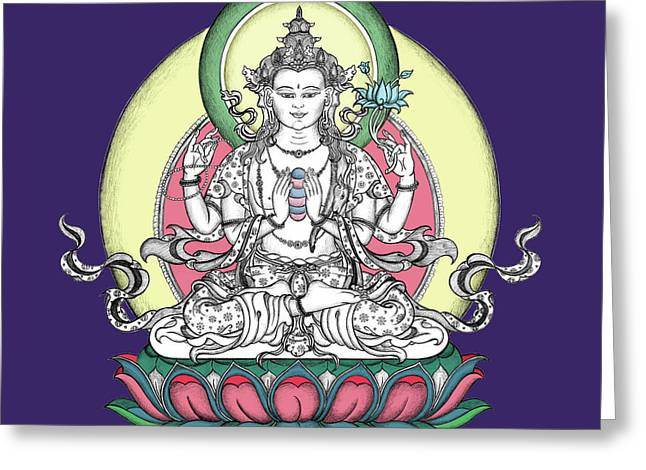 Bodhisatva Greeting Cards - Avalokiteshvara Greeting Card by Carmen Mensink