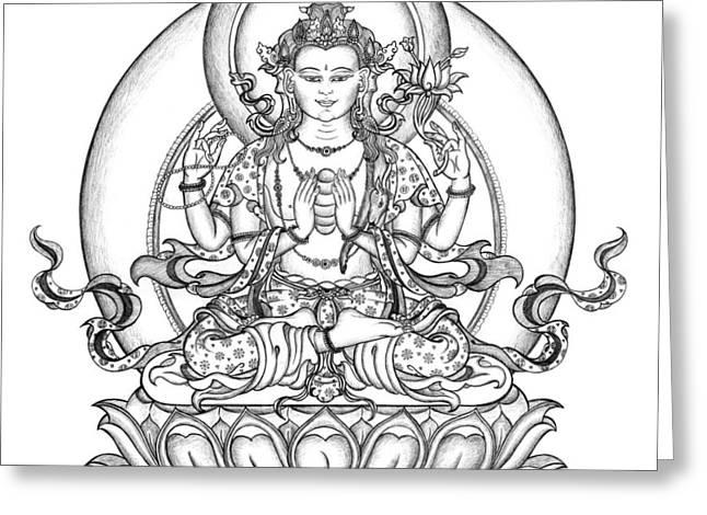 Avalokiteshvara -chenrezig Greeting Card by Carmen Mensink