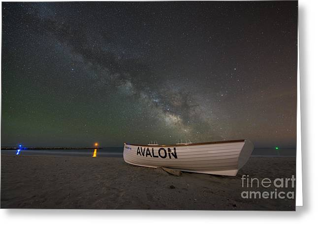 Beach At Night Greeting Cards - Avalon At Night  Greeting Card by Michael Ver Sprill