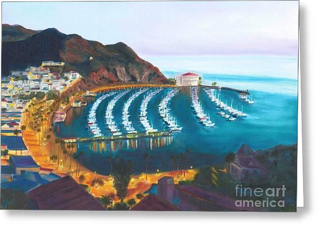 Casino Pier Paintings Greeting Cards - Avalon at sunrise Greeting Card by Nicolas Nomicos
