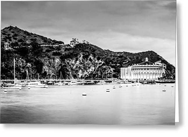 Theater Greeting Cards - Avalon Bay Black and White Panorama Picture Greeting Card by Paul Velgos