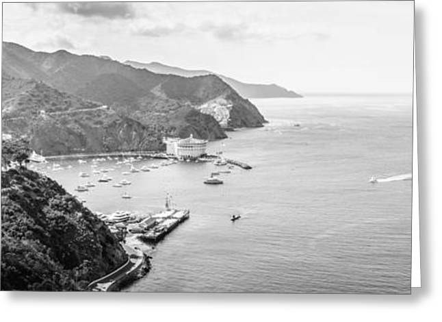 Theater Greeting Cards - Avalon Bay Catalina Island Panorama Photo Greeting Card by Paul Velgos