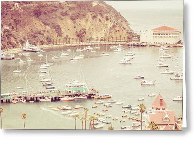 Theater Greeting Cards - Avalon California Catalina Island Panorama Photo Greeting Card by Paul Velgos