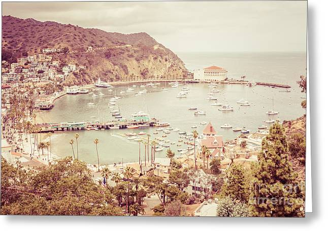 Theater Town Greeting Cards - Avalon California Catalina Island Retro Photo Greeting Card by Paul Velgos