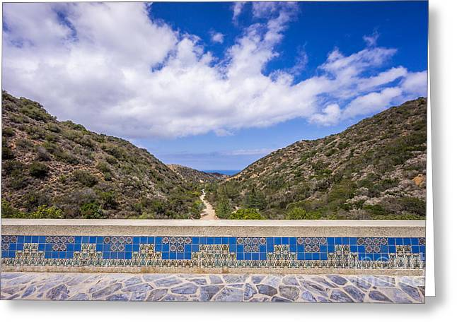 Road Picture Greeting Cards - Avalon Canyon at the Wrigley Memorial Greeting Card by Paul Velgos