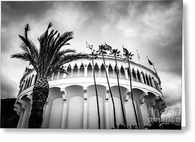 Historical Pictures Greeting Cards - Avalon Casino Catalina Island Black and White Photo Greeting Card by Paul Velgos