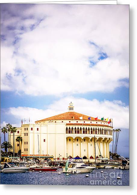 Avalon Casino Catalina Island Vertical Picture Greeting Card by Paul Velgos