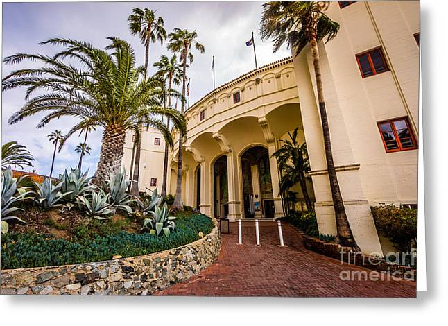 Avalon Casino Entrance On Catalina Island Greeting Card by Paul Velgos