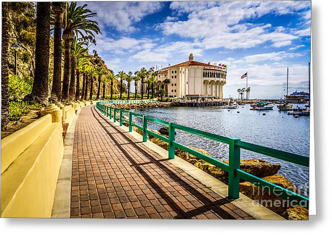 Historical Pictures Greeting Cards - Avalon Casino on Catalina Island  Greeting Card by Paul Velgos